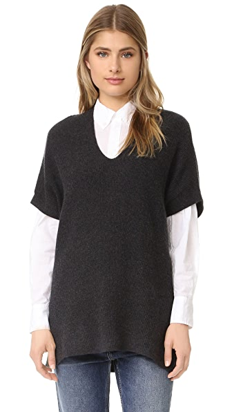 Vince Short Sleeve Rib Tunic - H. Carbon at Shopbop