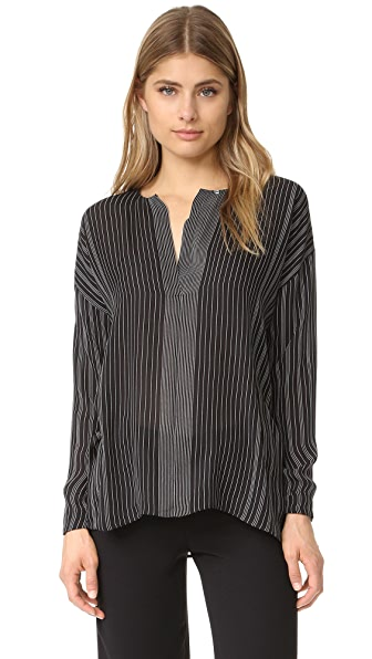 Vince Striped Covered Placket Blouse - Black/Chalk at Shopbop