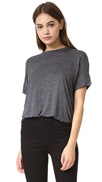 Vince Cuffed Sleeve Cocoon Tee - H. Charcoal at Shopbop