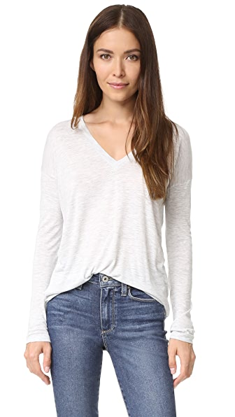 Vince Drop Sleeve Deep Vee Tee - Lt H Grey at Shopbop