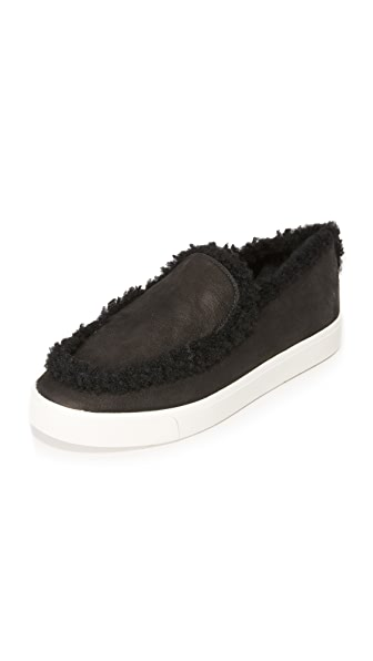 Vince Carlen Shearling Slip On Sneakers - Black at Shopbop