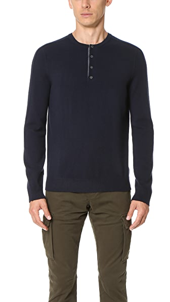 Vince Cashmere Essentials Henley Sweater