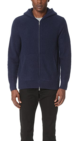 Vince Boiled Cashmere Zip Hoodie