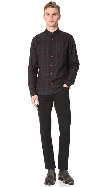 Vince Lightweight Plaid Flannel Shirt