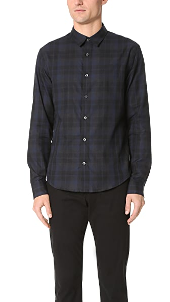 Vince Lightweight Plaid Flannel Shirt