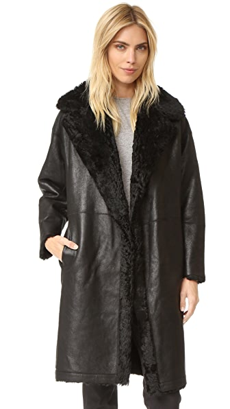 Vince Shearling Reefer Coat - Black