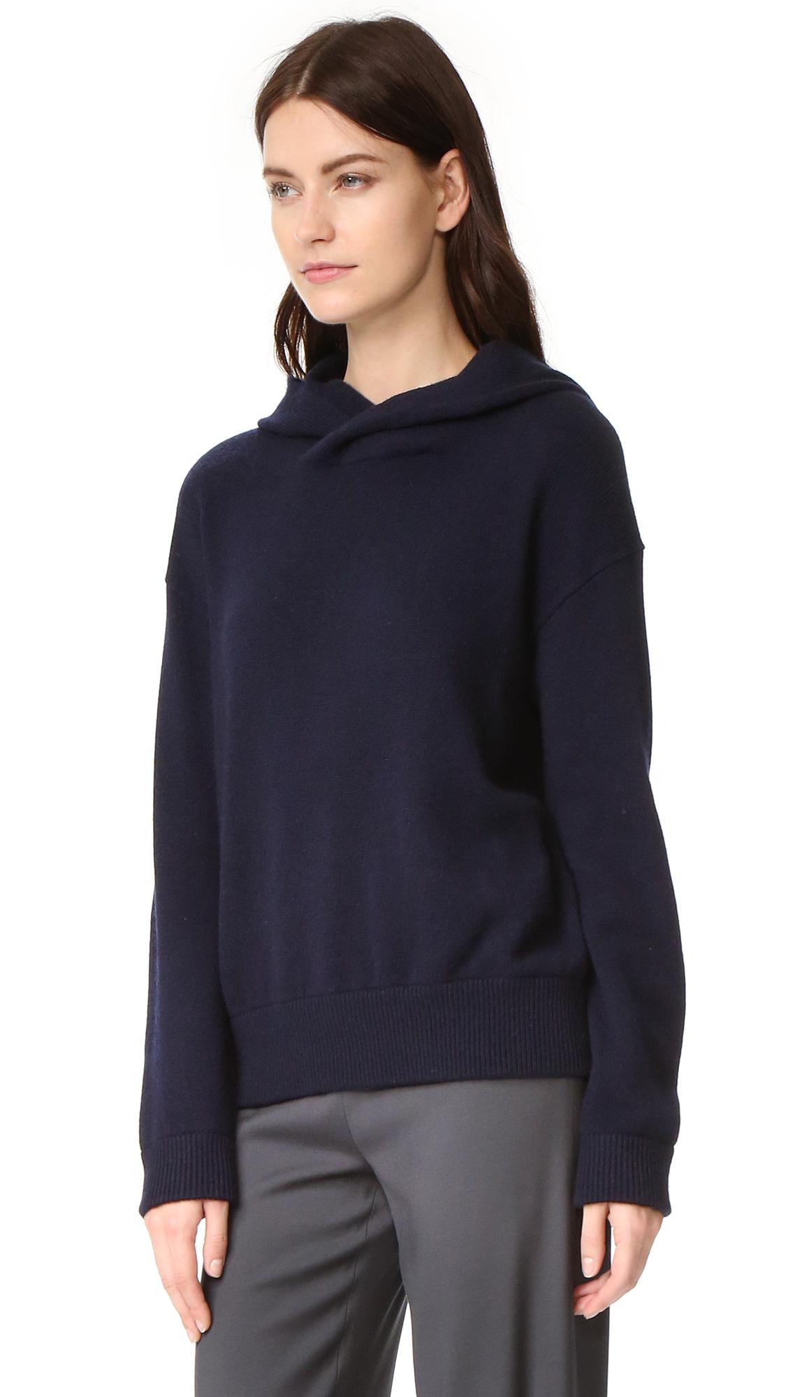 Vince Кашемировый свитер с капюшоном и перекрещенной отделкой