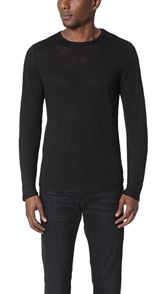 Vince Raw Edge Long Sleeve Linen Tee