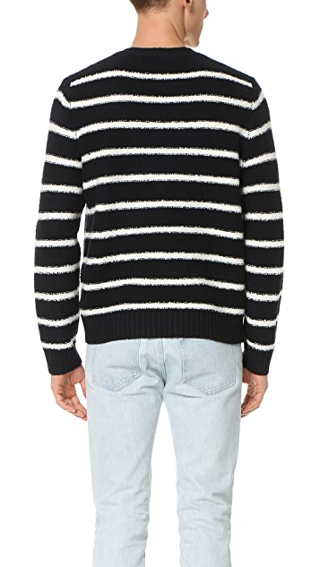 Vince Textured Striped Long Sleeve Crew Sweater