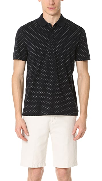 Vince Printed Short Sleeve Polo Shirt