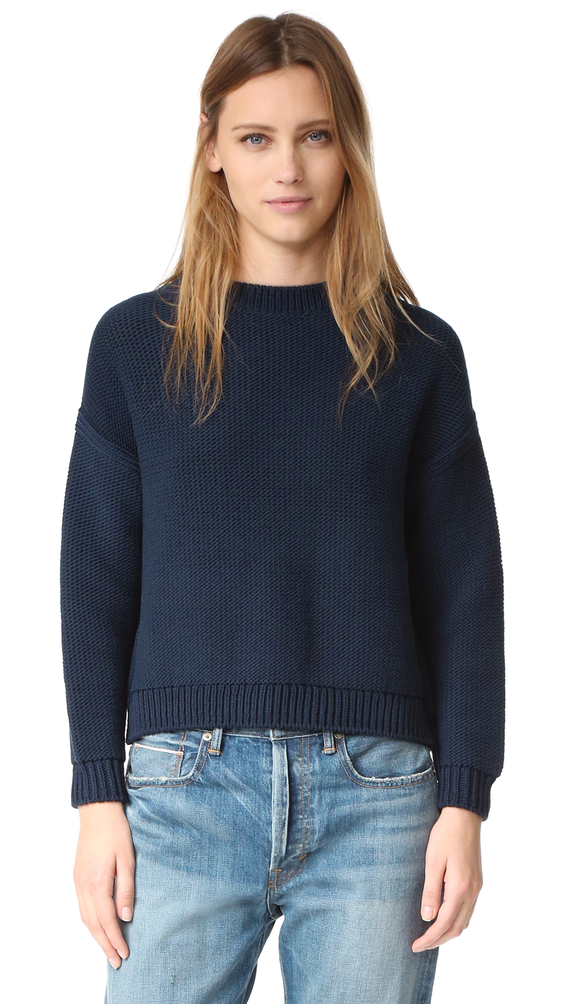 A boxy fit lends a relaxed feel to this easy Vince sweater. Ribbed edges. Dropped shoulder seams and long sleeves. Fabric: Knit. 70% cotton/30% polyamide. Hand wash or dry clean. Imported, China. Yarn from Italy. Measurements Length: 19.75