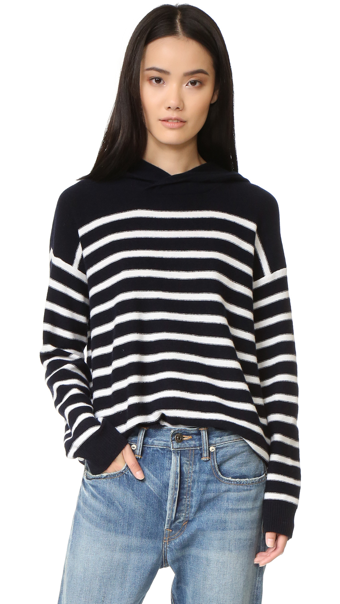 Vince Striped Cashmere Hoodie - Coastal/Off White at Shopbop