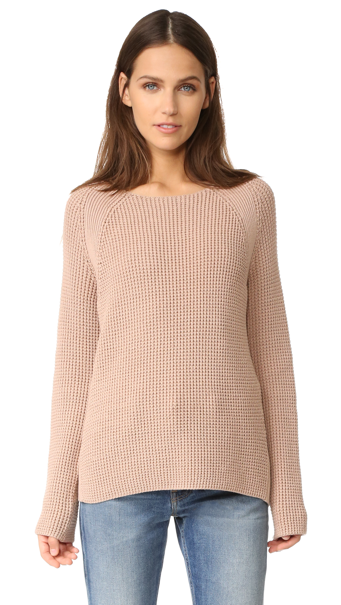 Vince Waffle Stitch Crew Pullover - Pink Cantare at Shopbop