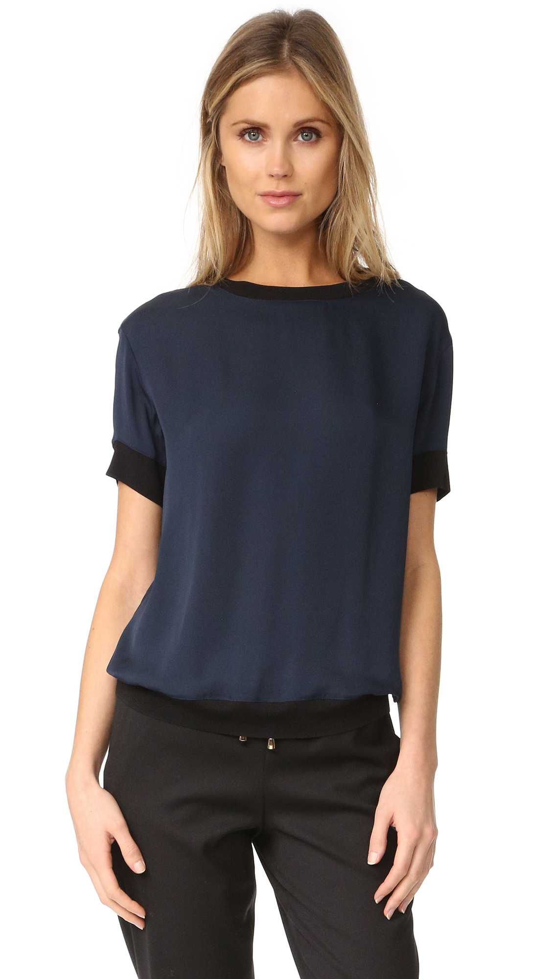 Vince Contrast Trim Silk Tee - Coastal/Black at Shopbop