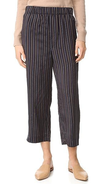 Vince Slouchy Crop Drawstring Pants - Coastal/Grey/Brown