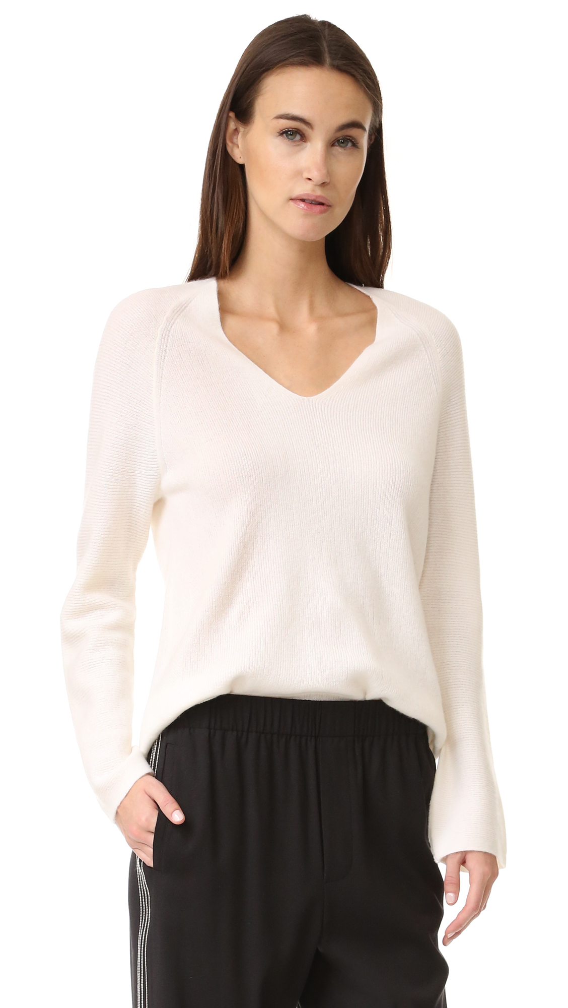 Vince Deep V Cashmere Sweater - Off White at Shopbop