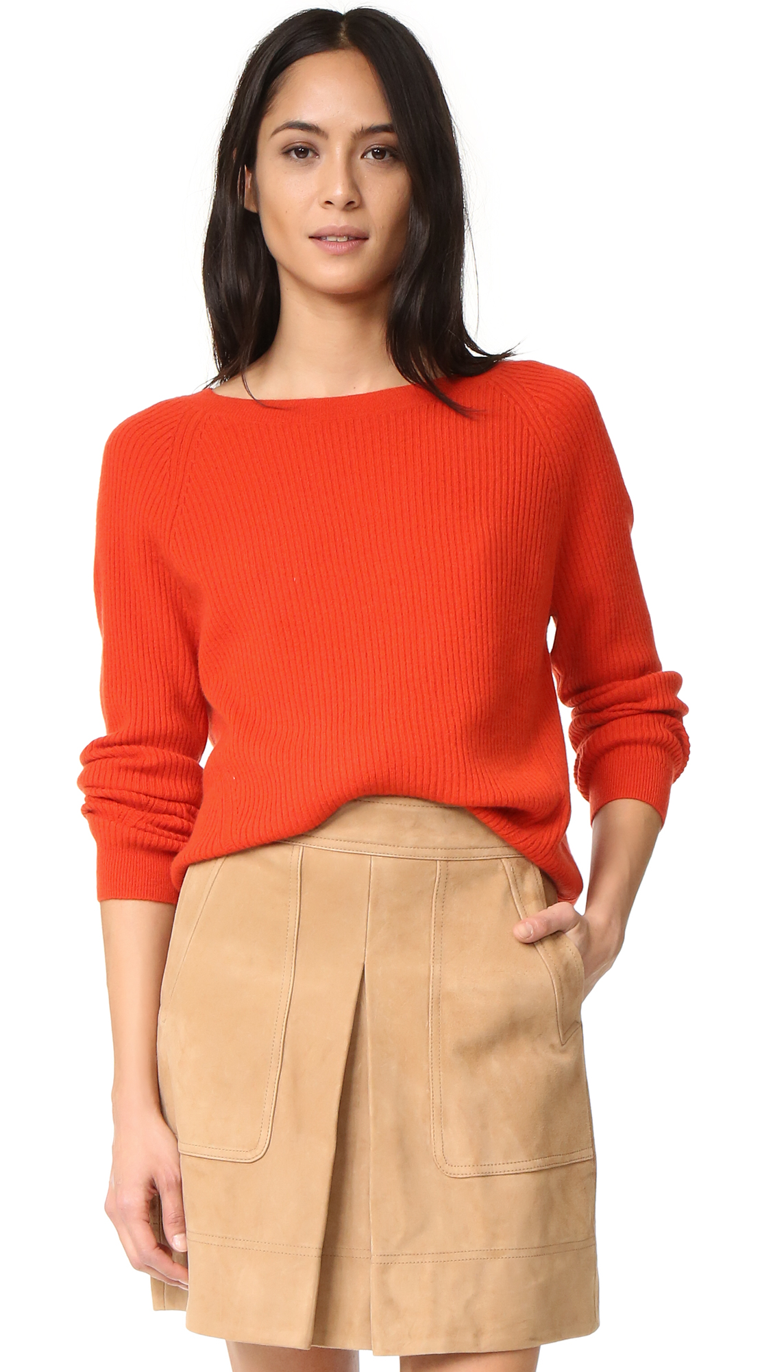 Vince Ribbed Cashmere Sweater - Orange Sunrise at Shopbop
