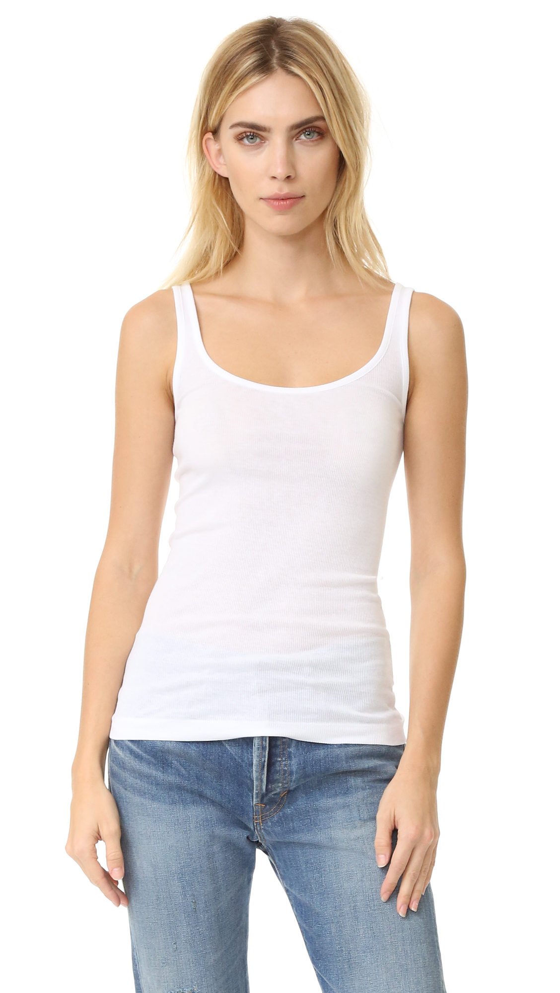 Vince Scoop Neck Tank - White at Shopbop