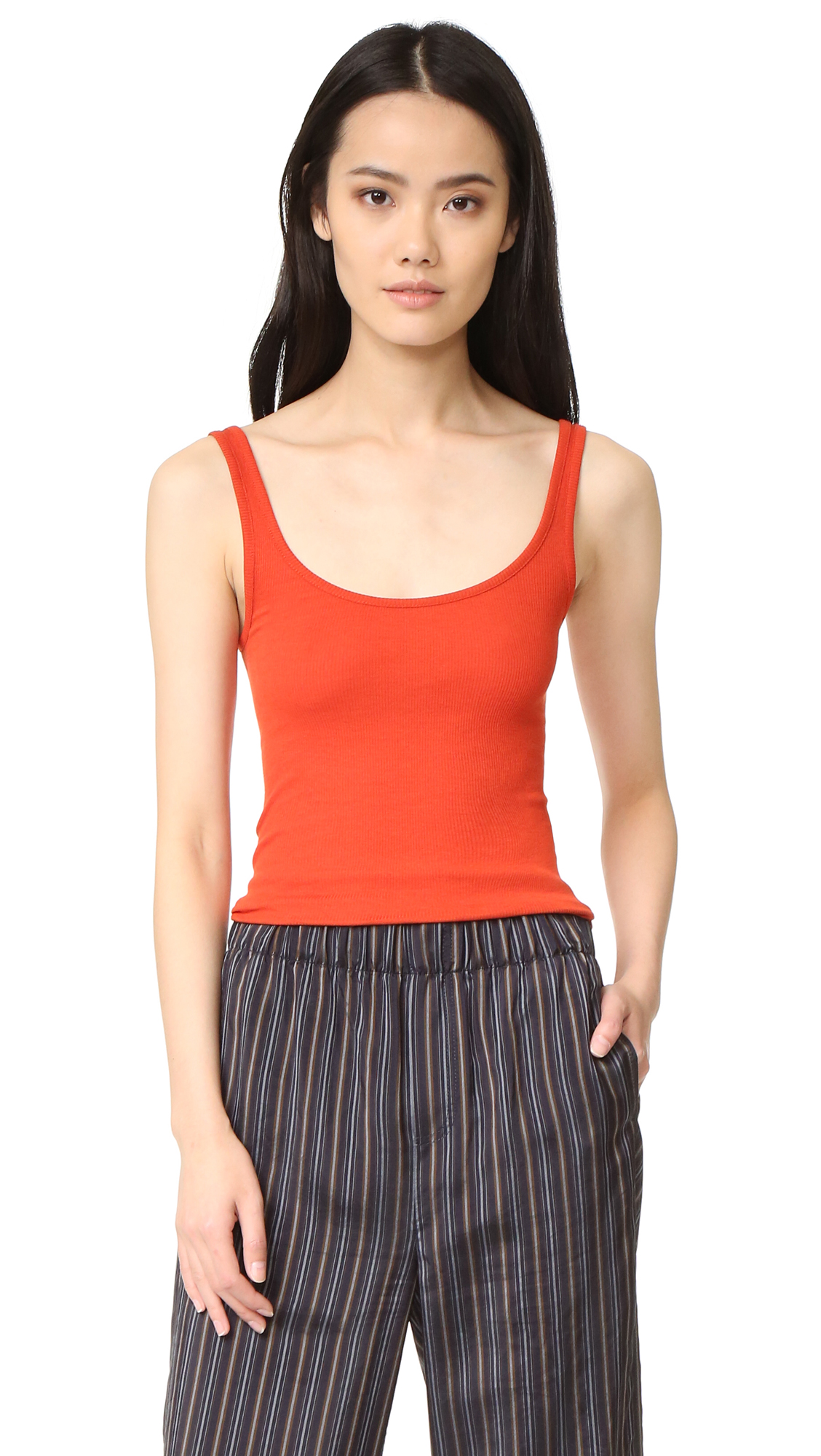 Vince Scoop Neck Tank - Orange Sunrise at Shopbop