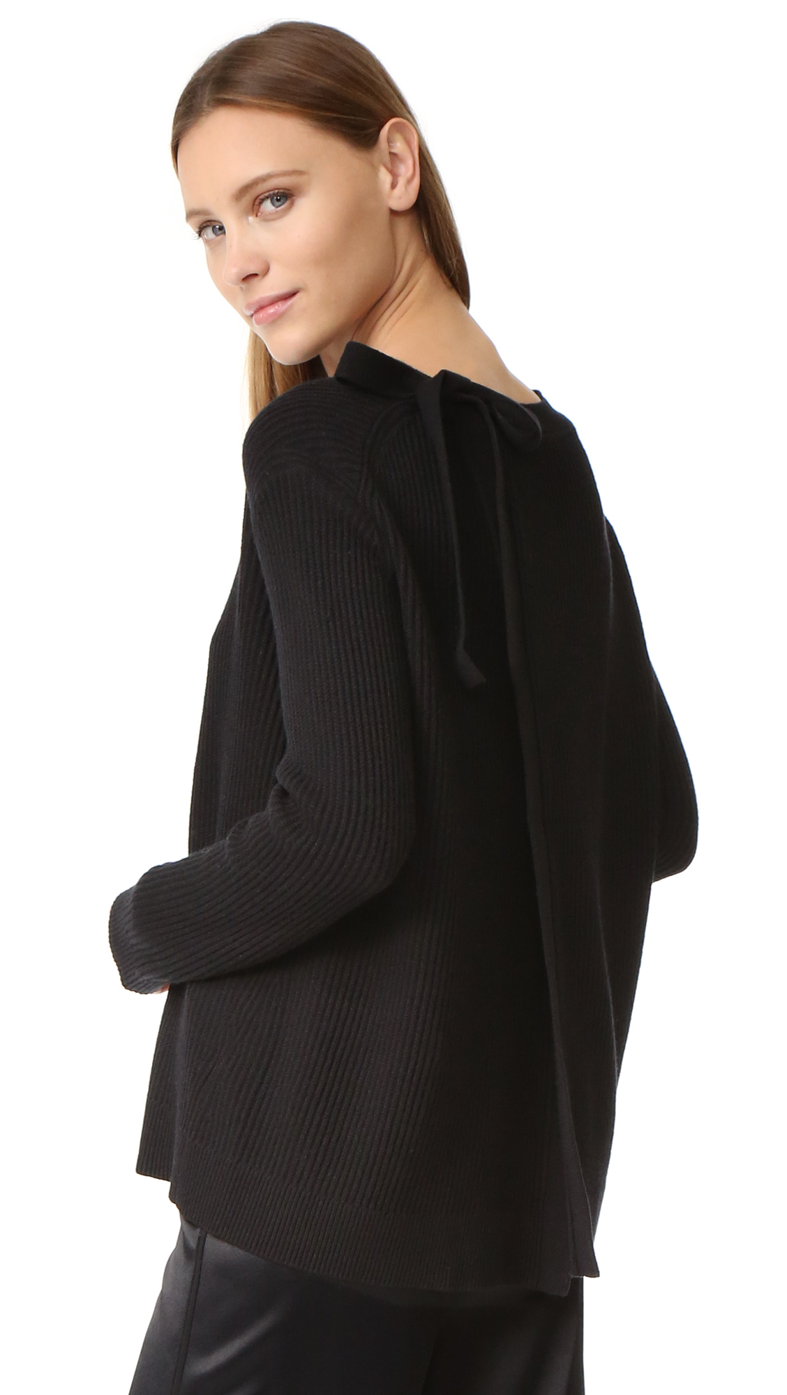 Vince Slit Back Sweater - Black at Shopbop