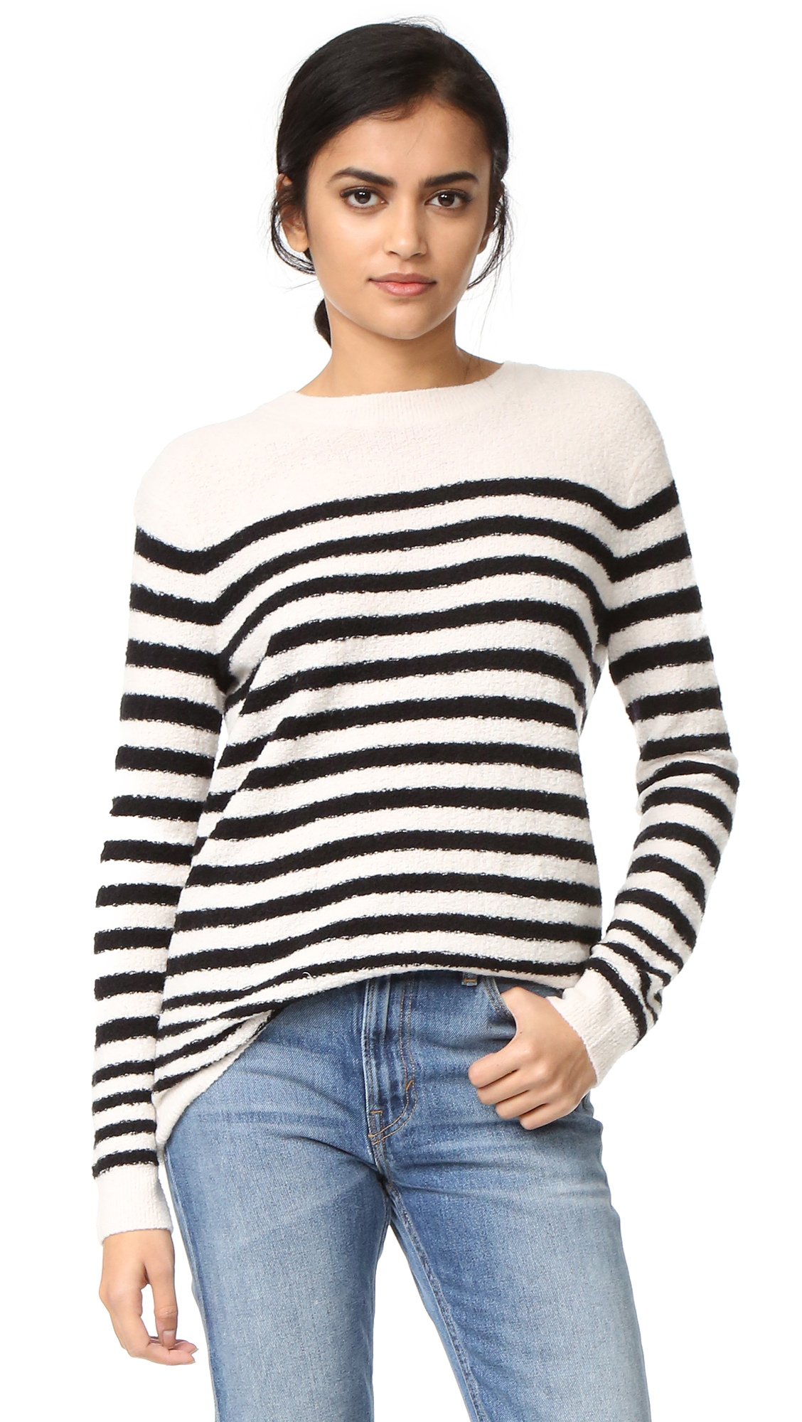 Vince Engineered Striped Pullover - Off White/Black at Shopbop