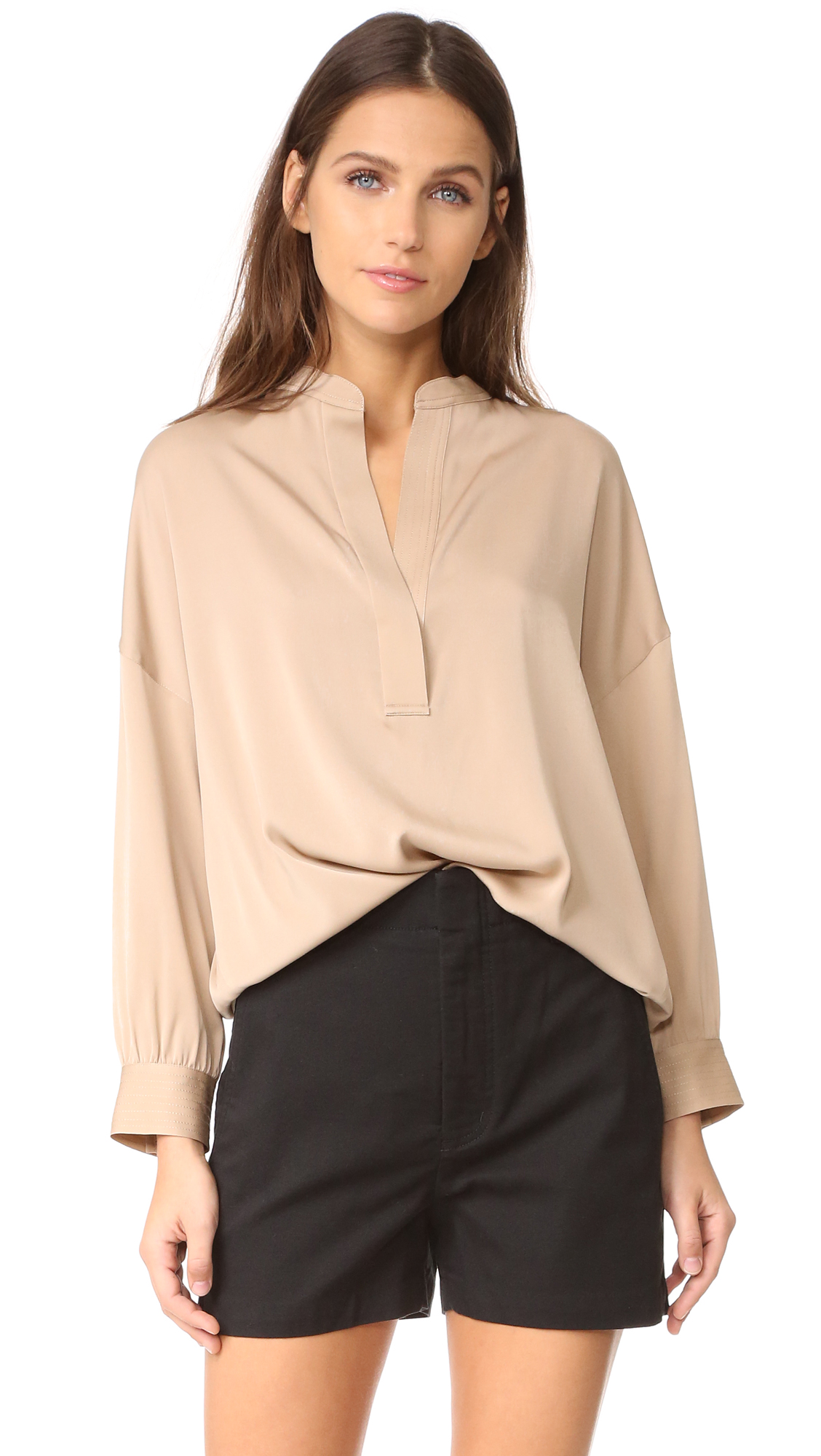 Vince Shirred Drape Pullover Blouse - Potato at Shopbop