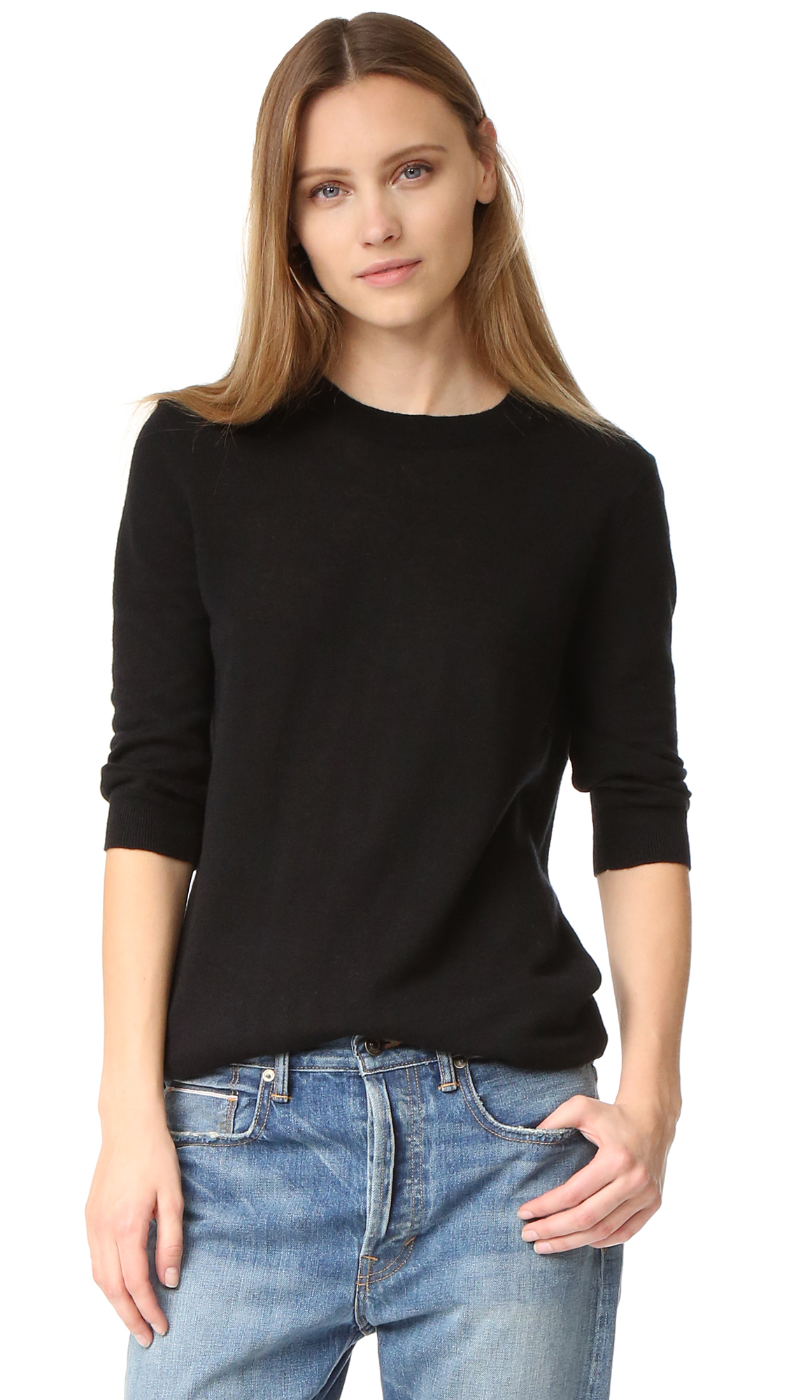 Vince Elbow Sleeve Pullover - Black at Shopbop