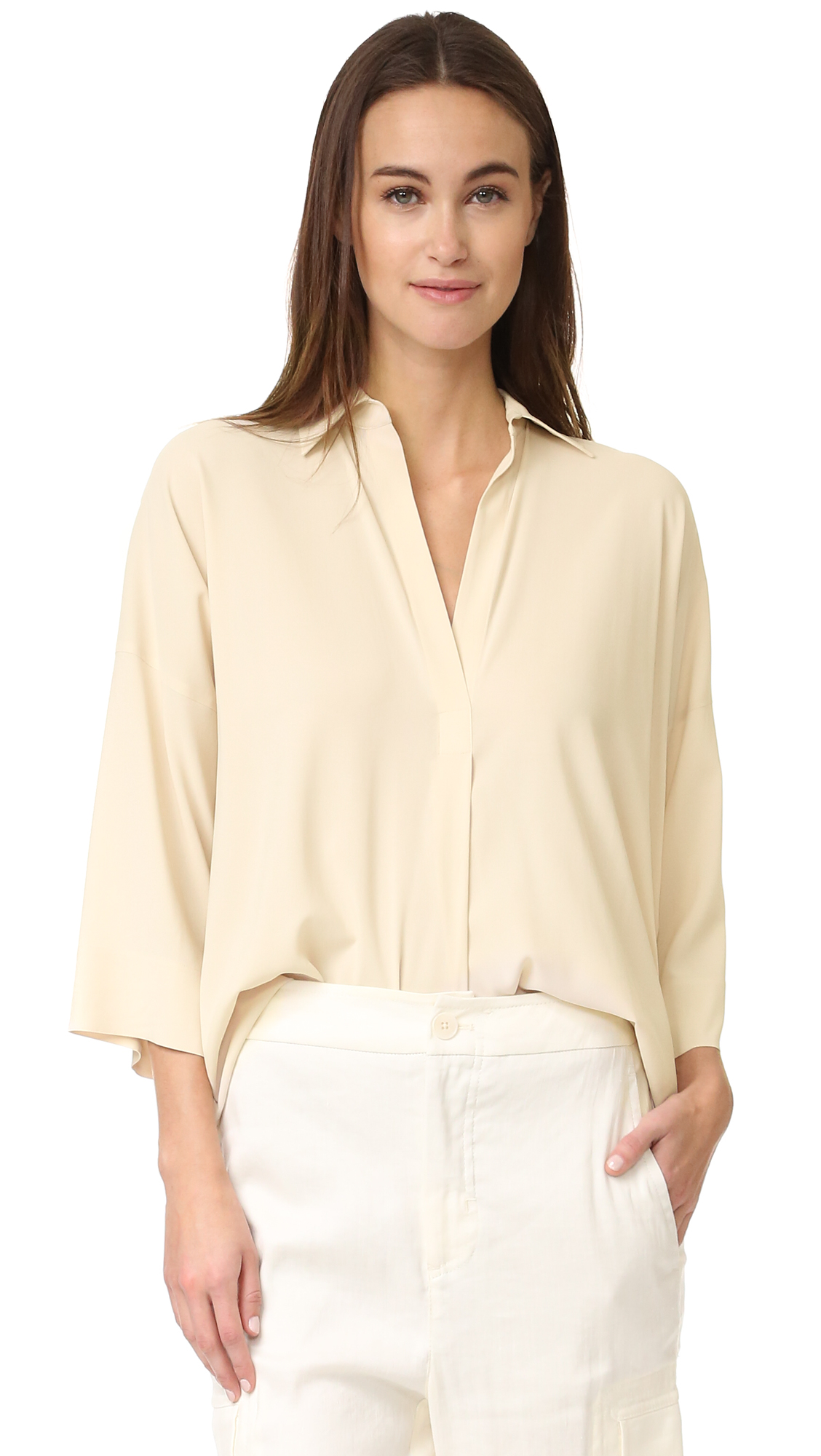 Vince Oversized Blouse - Bleached at Shopbop