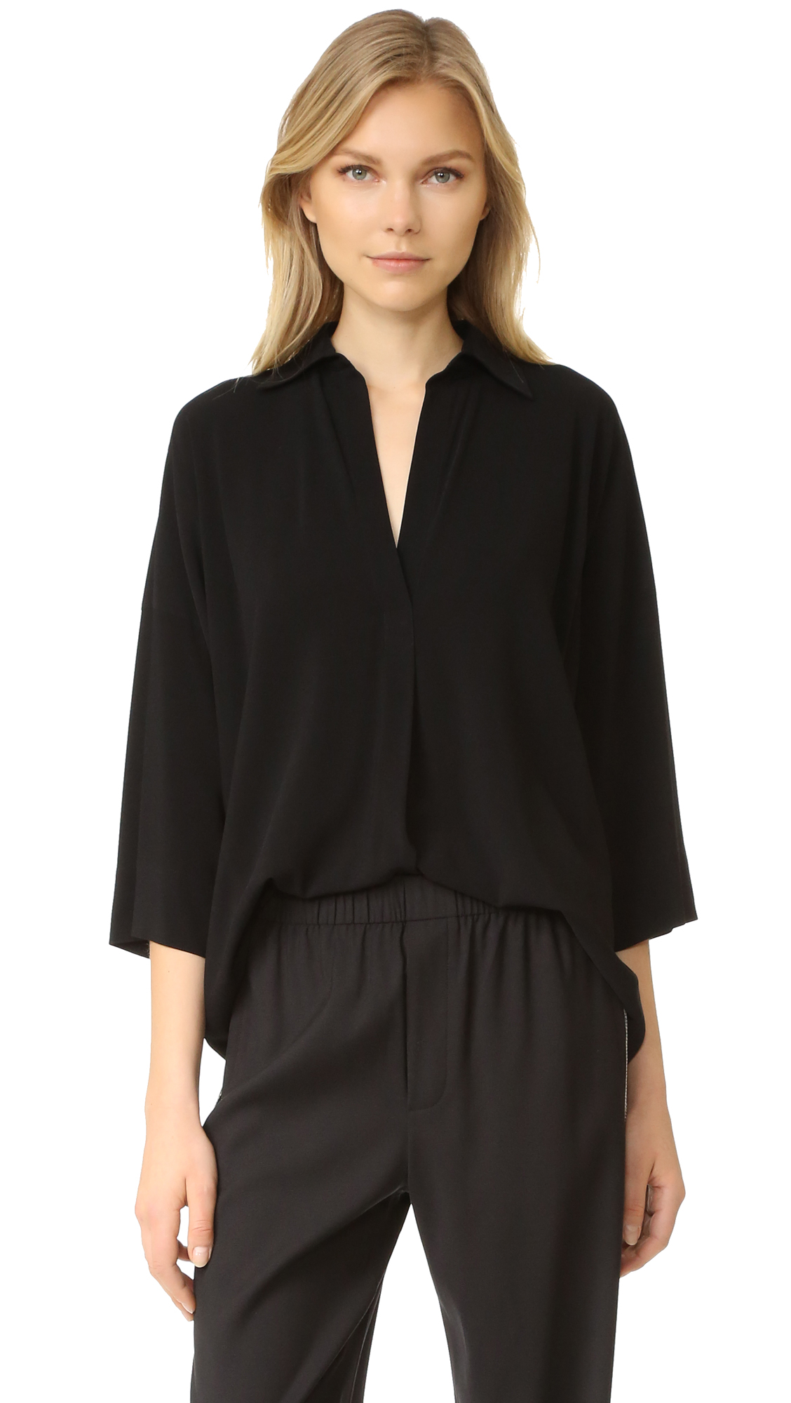 Vince Oversized Blouse - Black at Shopbop