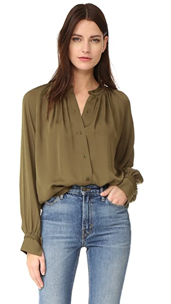 Vince Pleated Hand Stitch Blouse