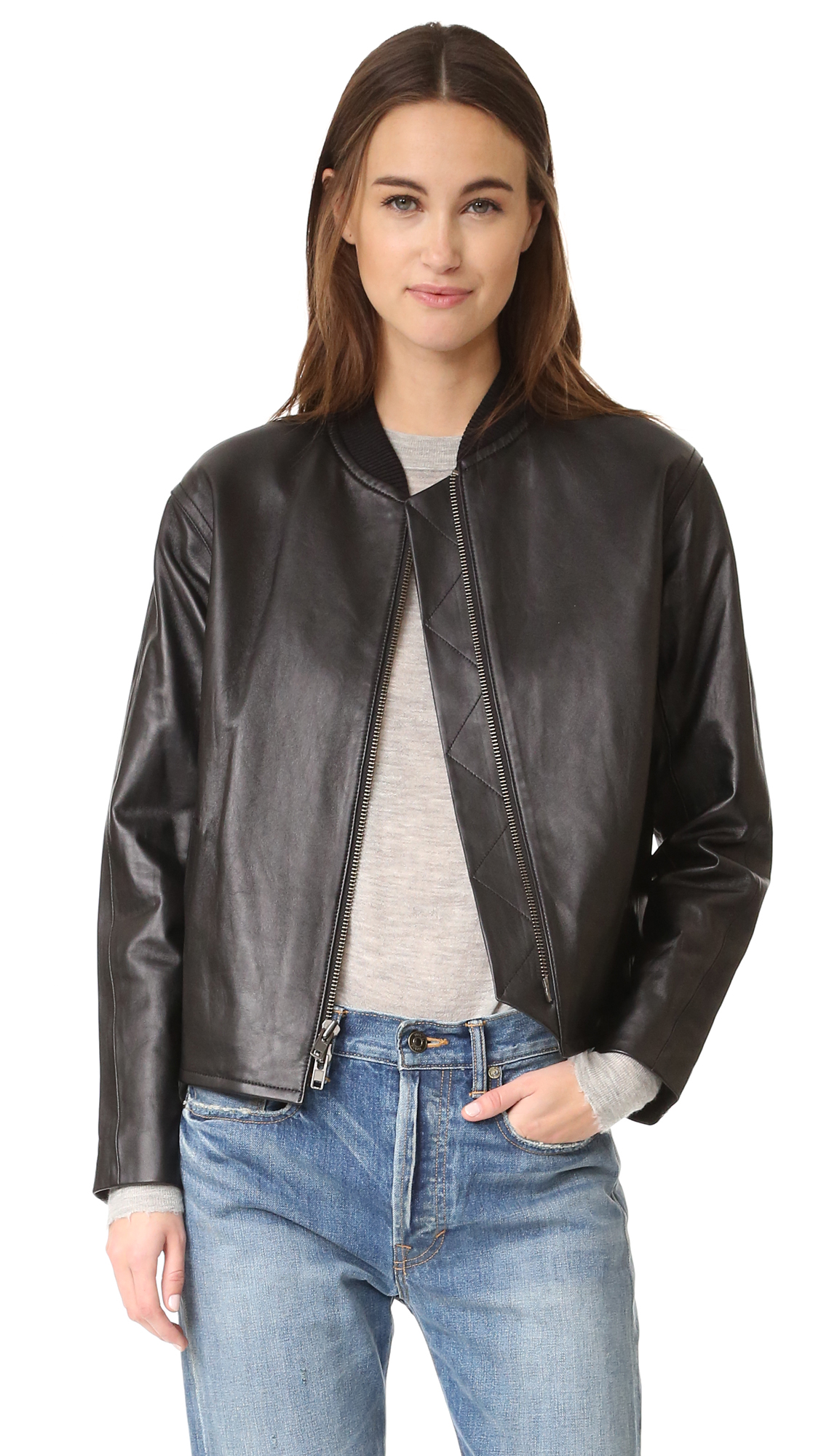 Vince Drop Shoulder Bomber Jacket - Black at Shopbop