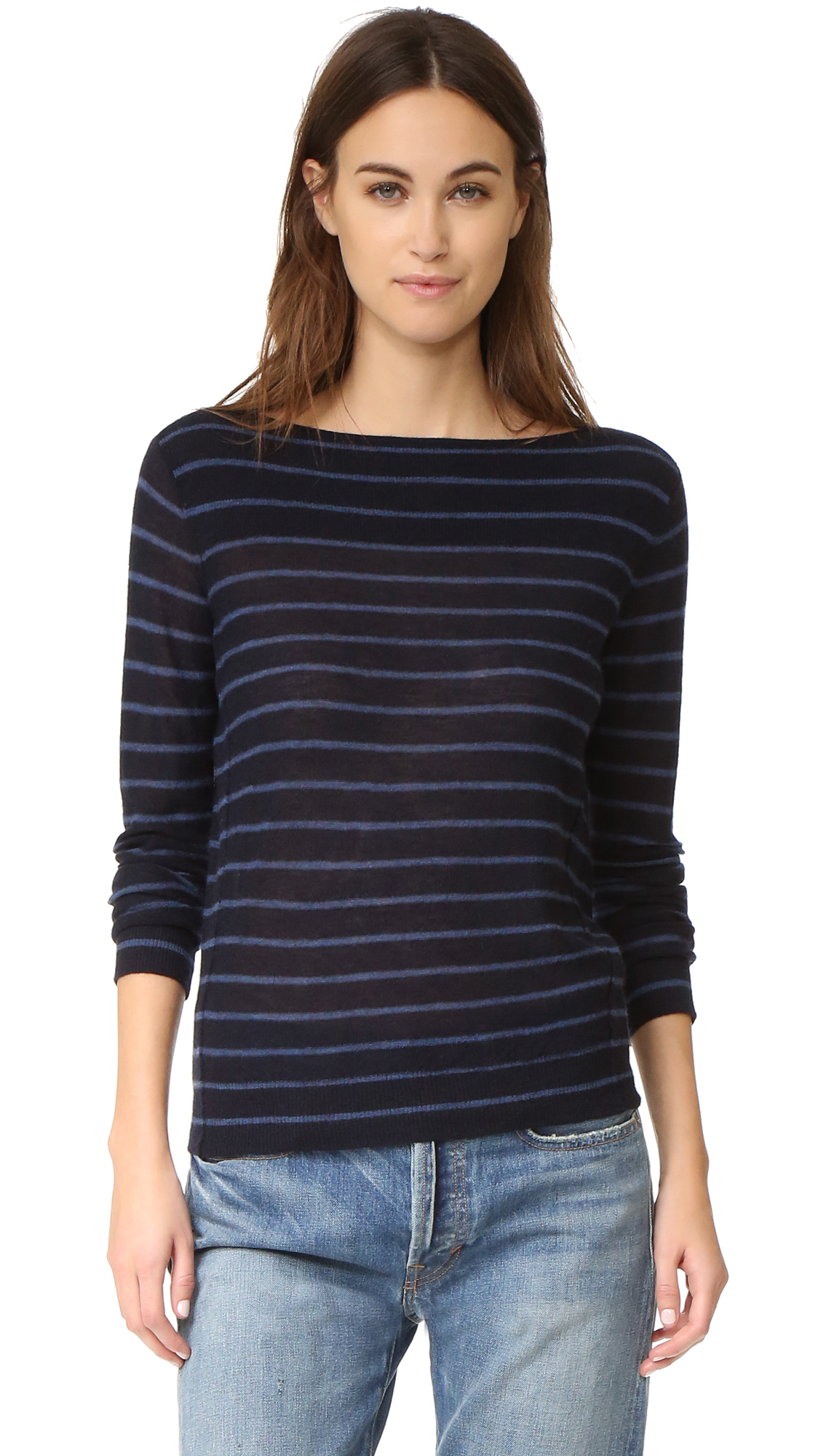 Vince Striped Cashmere Sweater - Coastal/Imperial Blue