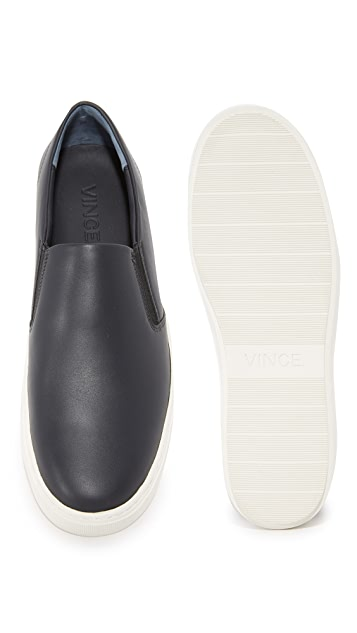 Vince Levi Leather Slip On Sneakers