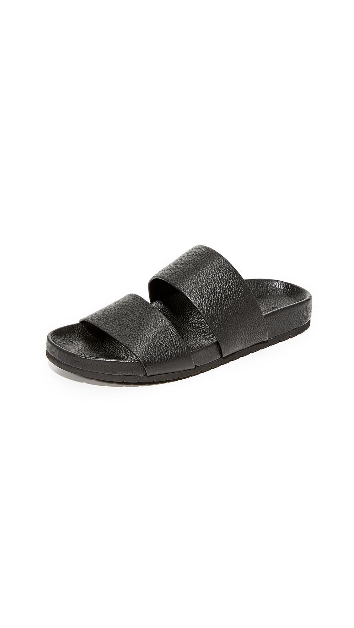 Vince Georgie Two Band Slide Sandals - Black