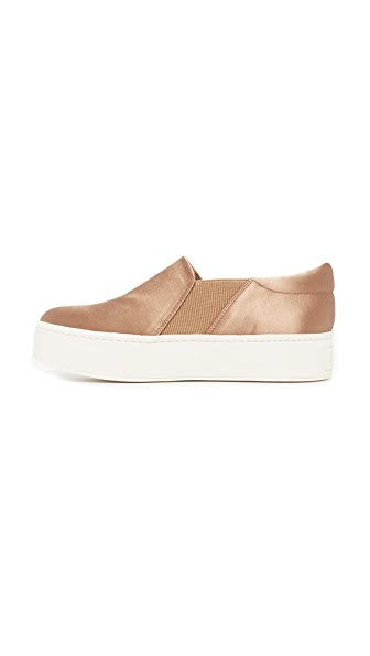 VINCE Warren Satin Platform Sneaker, Brown