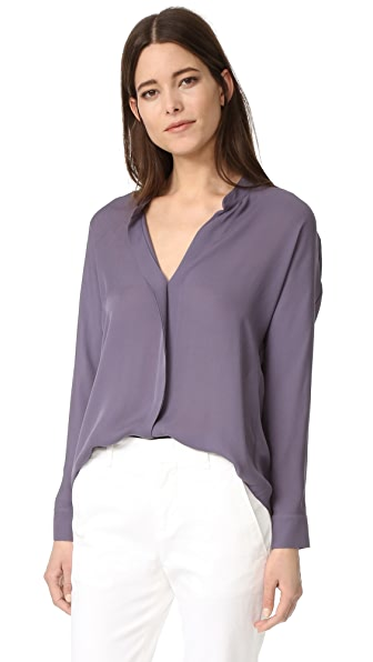 Vince Double Front Silk Blouse