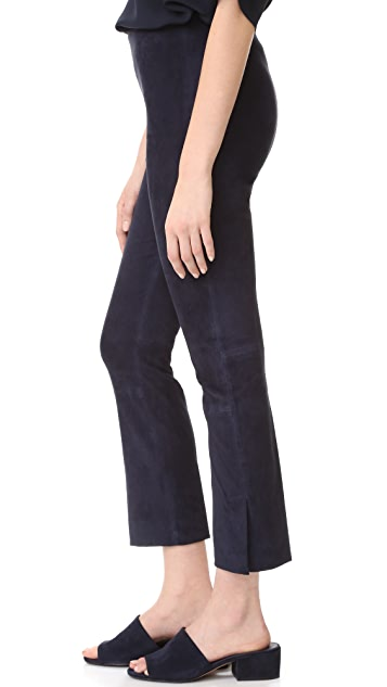 Vince Stretch Suede Split Hem Cropped Leggings