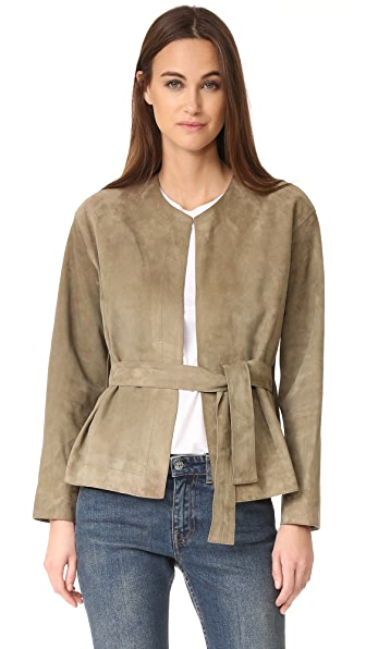 Vince Suede Belted Jacket at Shopbop