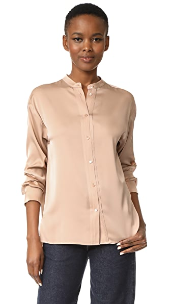 Vince Pintuck Placket Blouse