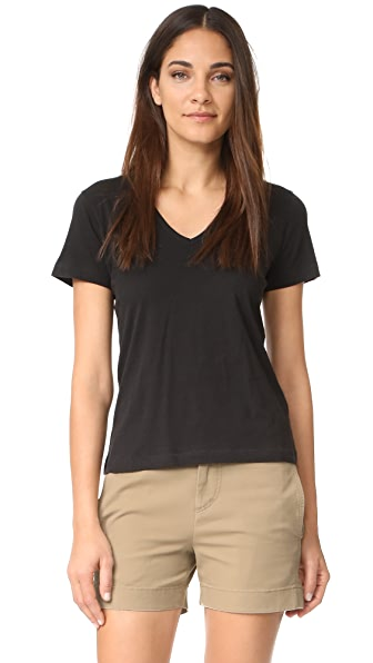 Vince Short Sleeve V Neck Tee - Black
