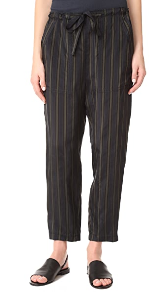 Vince Regiment Stripe Paper Bag Waist Pants