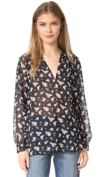 Vince Calico Floral Pleat Neck Blouse