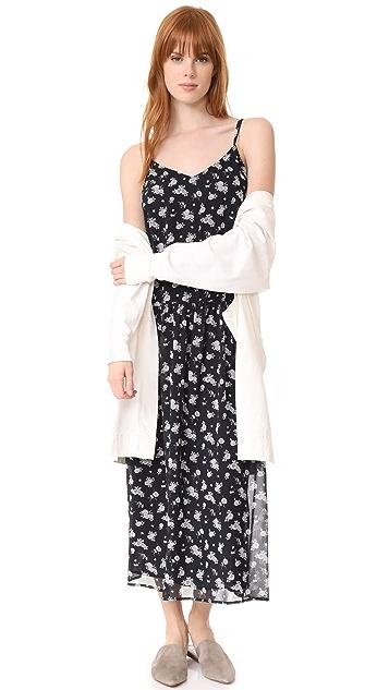 Vince Calico Floral Shirred Waist Dress