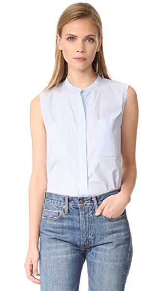 Vince Cropped Side Slit Shell In Chambray