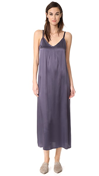Vince Pleat Neck Slip Dress