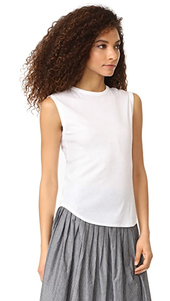 VINCE Shirttail Tank in White