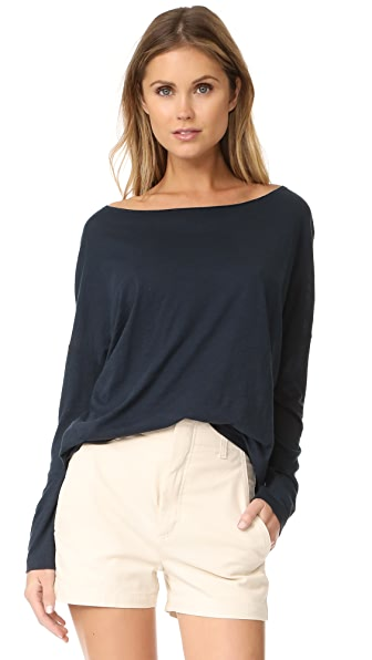 Vince Drop Shoulder Boat Neck Tee