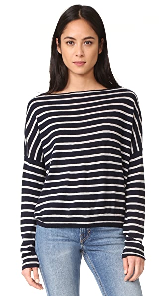 Vince Skinny Stripe Boatneck Sweater