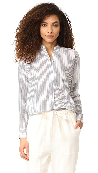 Vince Double Stripe Pullover Shirt - Off White/Black