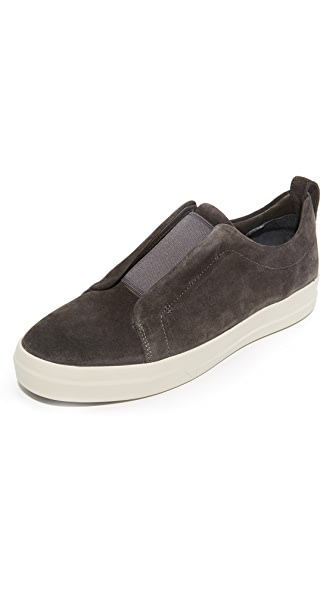 Vince Conway Suede Elastic Gore Slip On Sneakers